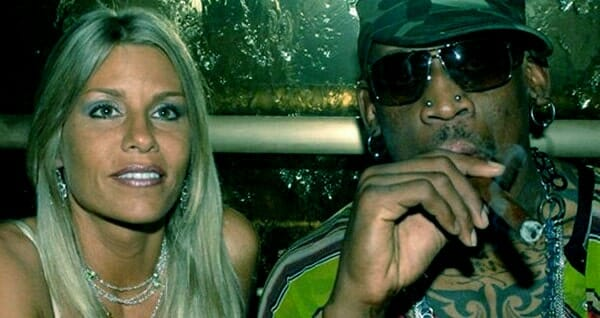 Image of Dennis Rodman with his ex-wife Michelle Moyer.