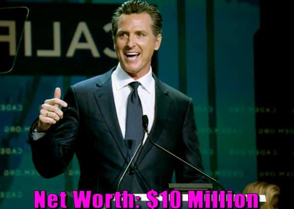 Image of Governor of California, Gavin Newsom net worth is $10 million