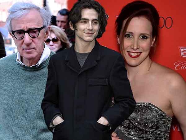 Woody Allen & Timothee Chalamet and Dylan Farrow