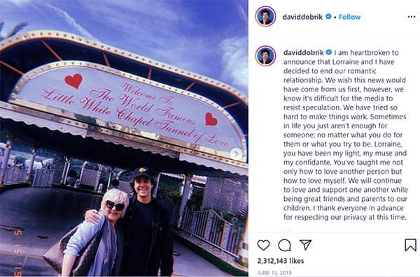 Image of David announced to end their relationship on Instagram