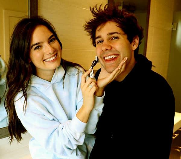 Image of David Dobrik with his girlfriend Natalie Mariduena