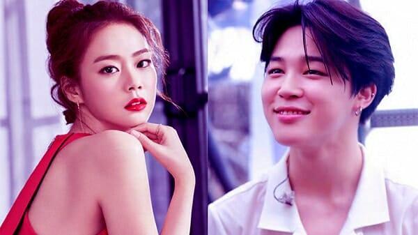 Image of BTS Jimin and pop artist Han Seung-Yeon